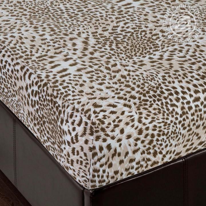 Простыня трикотажная на резинке «Леопард»