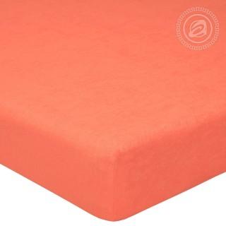 Простыня махровая на резинке «Персик»