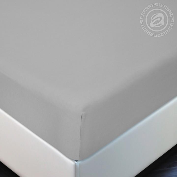 Простыня трикотажная на резинке «Серый»